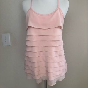 Double Layer Pink Ruffle Top w/ Racerback